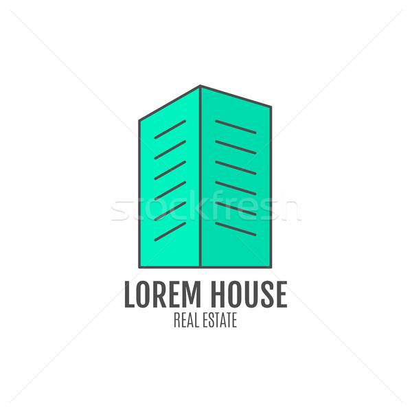 Domu projektowanie logo nieruchomości ikona info grafiki Zdjęcia stock © JeksonGraphics