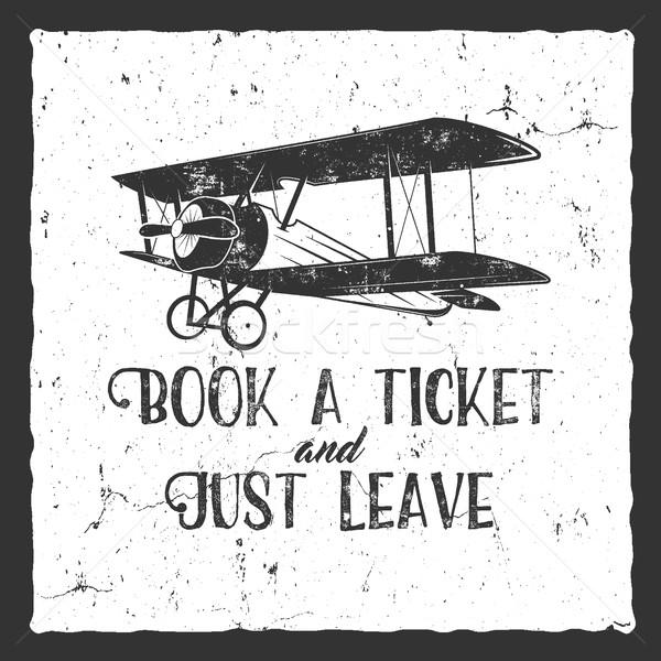 Vintage avião tipografia cartaz velho Foto stock © JeksonGraphics
