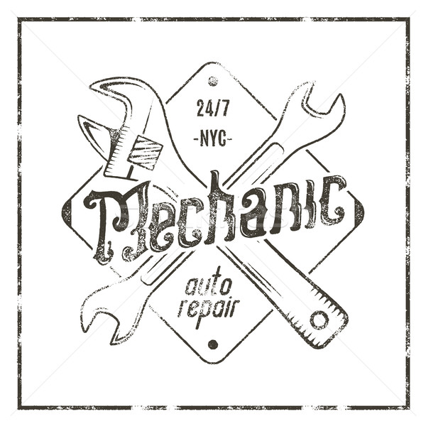 Mechanic auto repair label. Vintage tee design graphics, complete car repair typography print. Custo Stock photo © JeksonGraphics