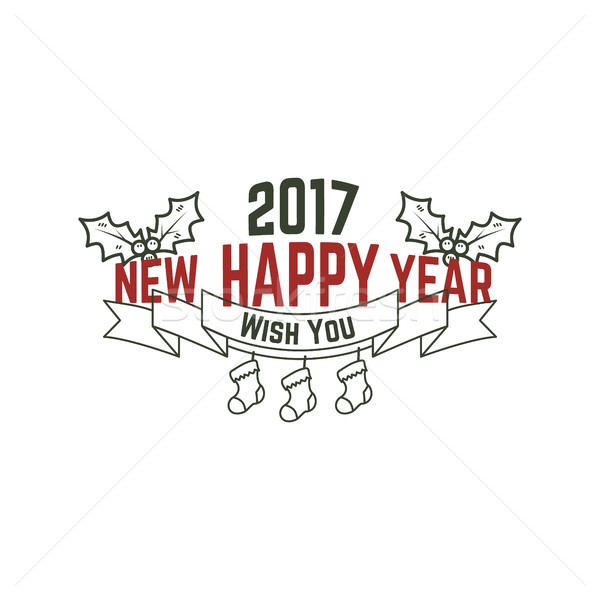Happy new year typographie signe illustration Noël Photo stock © JeksonGraphics