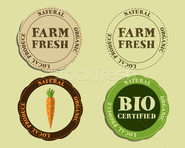 Stylish Farm Fresh logo and badge templates with carrot. Organic, eco. Mock up design. Retro colors. Stock photo © JeksonGraphics