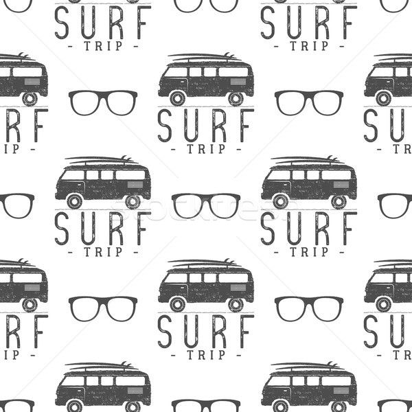 Stock photo: Vector Surfing Seamless pattern with  glass. Surfer van, glasses elements.  rv wallpaper printing de