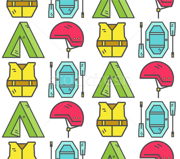 Rafting equipment seamless pattern. Outdoors style, thin line color design. Stylish elements for web Stock photo © JeksonGraphics