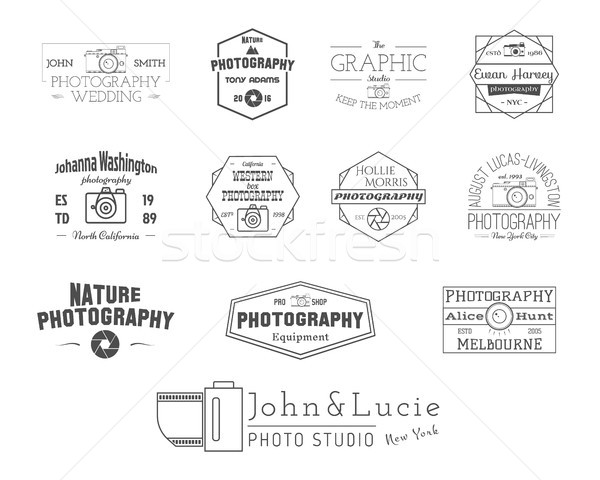 Photography Badges and Labels in Vintage Style. Simple Line design. Retro theme for photo studio, ph Stock photo © JeksonGraphics