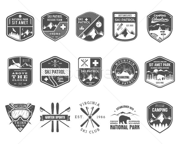 Set of Ski Club, Patrol Labels. Vintage Mountain winter camp explorer badges Outdoor adventure logo  Stock photo © JeksonGraphics