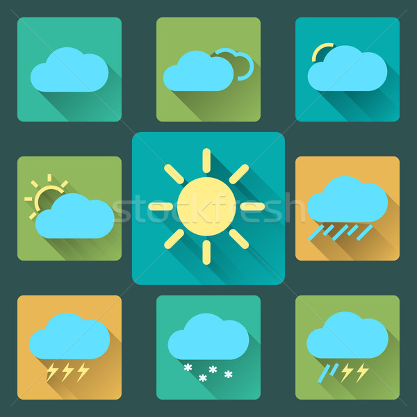 Stock photo: Flat Weather icons and set. Long Shadows. Seasons theme, easy to use as icons, logo on web, mobile a