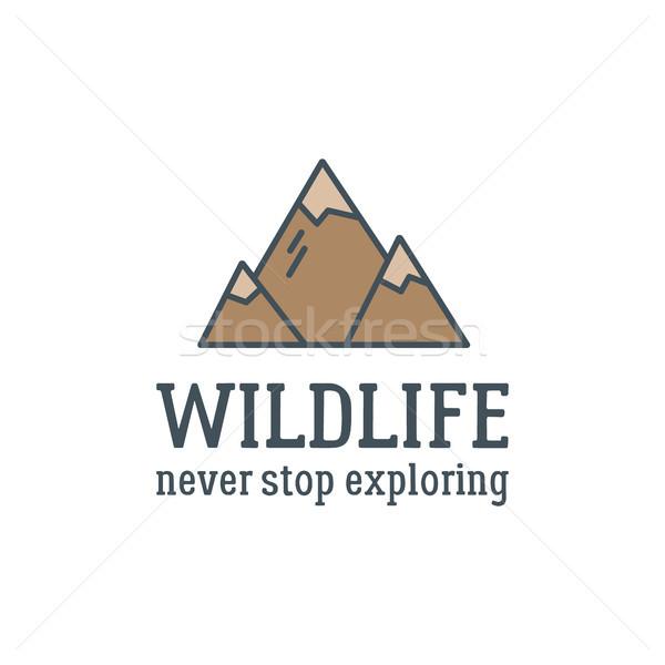 キャンプ ロゴデザイン タイポグラフィ 旅行 要素 山 ストックフォト © JeksonGraphics
