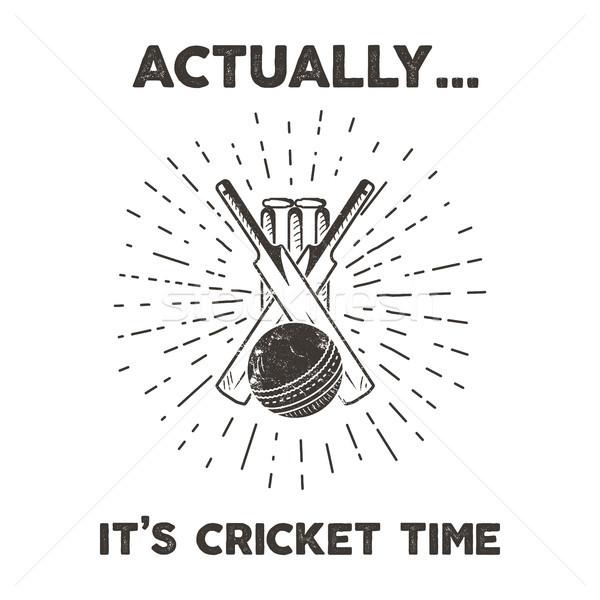 Retro cricket club emblem design. Cricketing logo icon design. Crickets badge. Sports logo symbols w Stock photo © JeksonGraphics