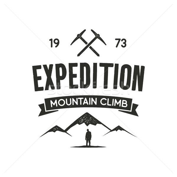 Mountain expedition label with climbing symbols and type design - mountain climb. Vintage letterpres Stock photo © JeksonGraphics