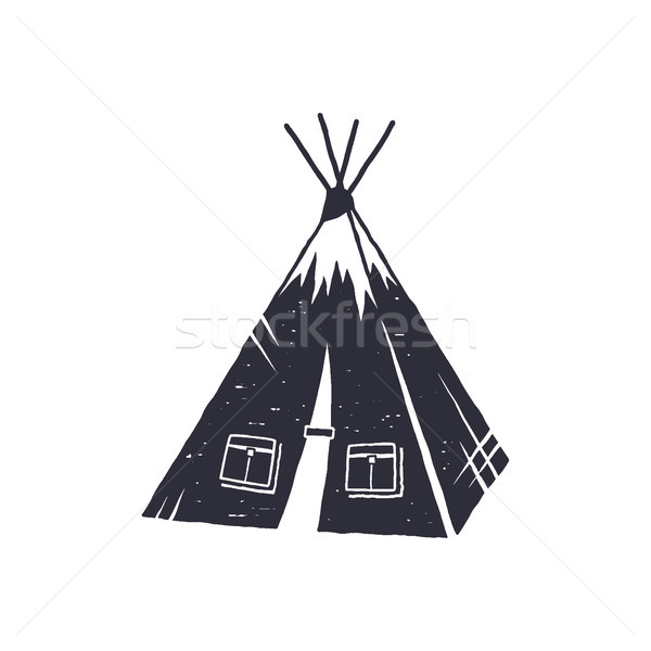 Hand drawn camp tent shape. Indian style tent. Monochrome design. Camping icon, pictogram. Stock iso Stock photo © JeksonGraphics