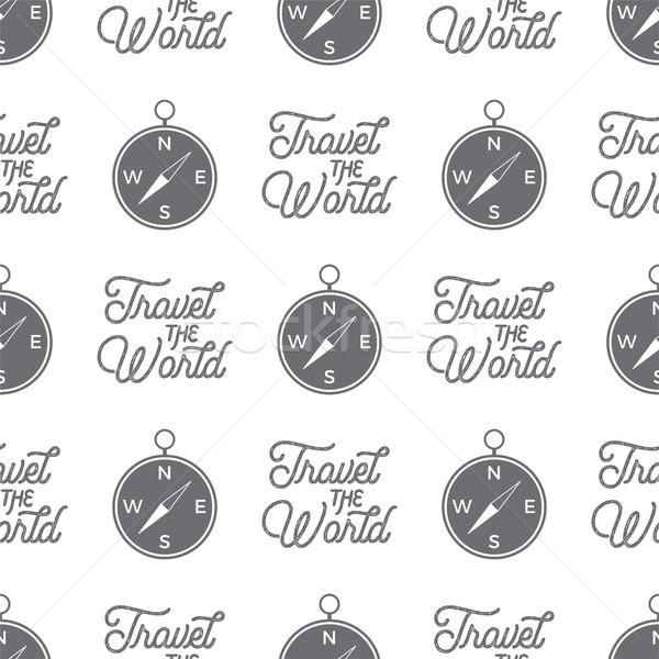 Viajar bússola sem costura mundo papel de parede padrão Foto stock © JeksonGraphics