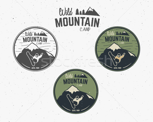 Set of Mountain camp vintage explorer labels Outdoor adventure logo design Travel hand drawn and hip Stock photo © JeksonGraphics
