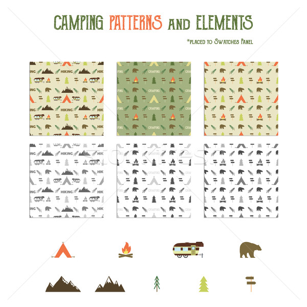 Camping patterns and hiking elements set - tent, bear, bonfire, van trailer, mountains. Travel seaml Stock photo © JeksonGraphics