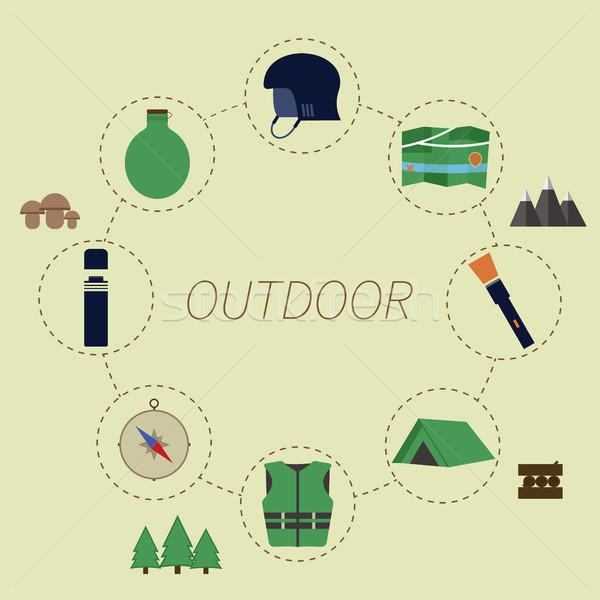 Szabadtér infografika kempingezés életstílus szokatlan terv Stock fotó © JeksonGraphics