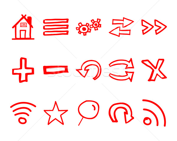 Hand drawn web icons and logo, arrows, internet browser elements set. Sketch, doodle stylish and unu Stock photo © JeksonGraphics