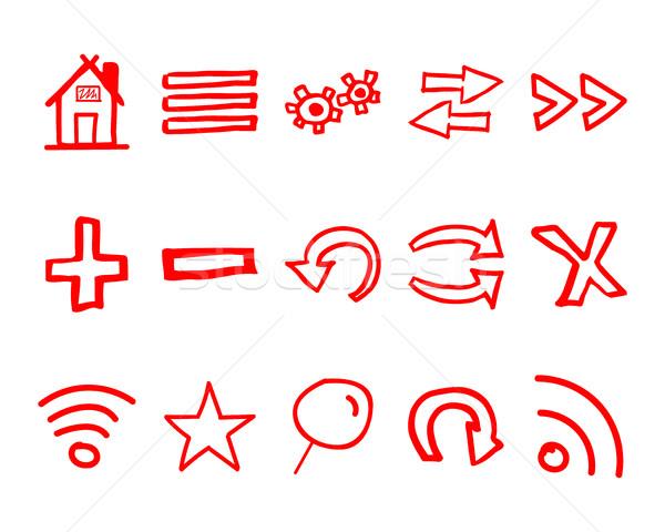 рисованной веб-иконы логотип Стрелки интернет браузер Сток-фото © JeksonGraphics