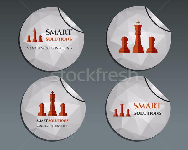 Establecer pegatinas ajedrez inteligentes soluciones Foto stock © JeksonGraphics