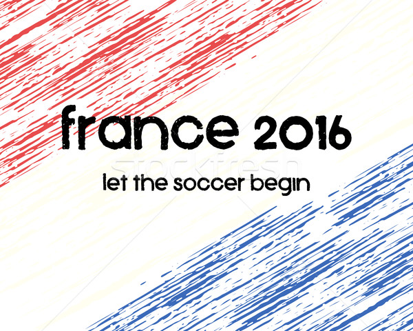 France 2016 Soccer poster. Retro stylish France flag background, typographic design. Vector Stock photo © JeksonGraphics