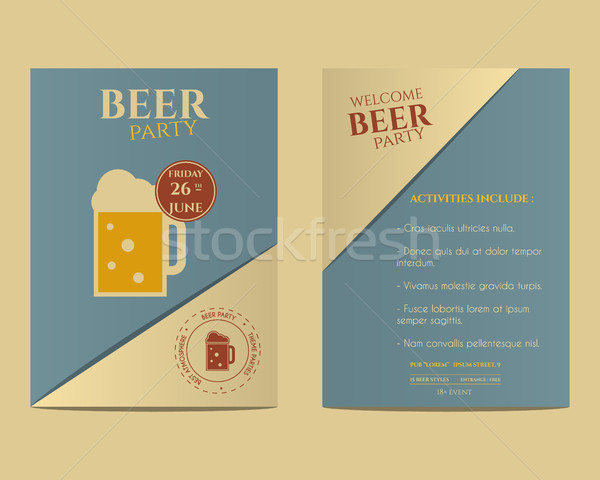 Beer party flyer invitation template with glass of beer. Vintage design. Best for club, pub or night Stock photo © JeksonGraphics