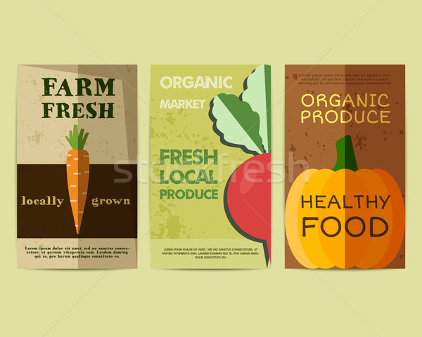 Set of Stylish Farm Fresh flyer, template or brochure design with carrot and radish. Mock up design. Stock photo © JeksonGraphics