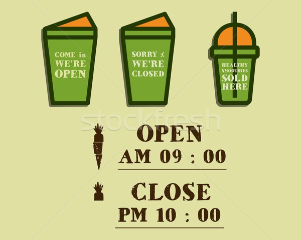 Summer fresh smoothie cafe signs concept. Open and Closed elements. Organic lifestyle design with in Stock photo © JeksonGraphics