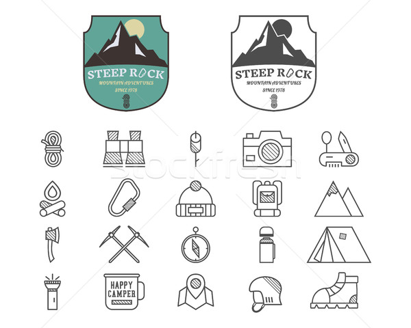 Foto stock: Conjunto · verão · montanha · acampamento · distintivo · logotipo