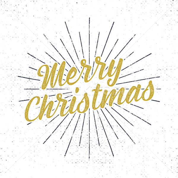 Merry Christmas lettering. Holiday typography Illustration. Letters composition with sun bursts and  Stock photo © JeksonGraphics