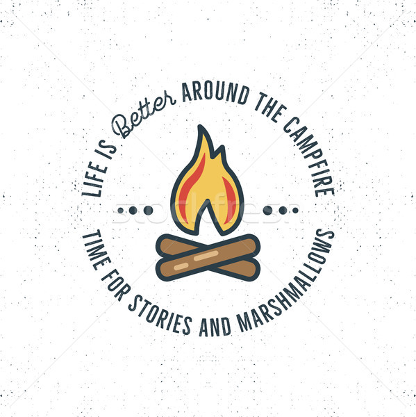 Camping logo design with typography and travel elements - bonfire. text - life is better around the  Stock photo © JeksonGraphics