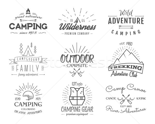 Stock photo: Set of retro badges and label logo graphics. Camping emblems and travel insignia. Monochrome vintage