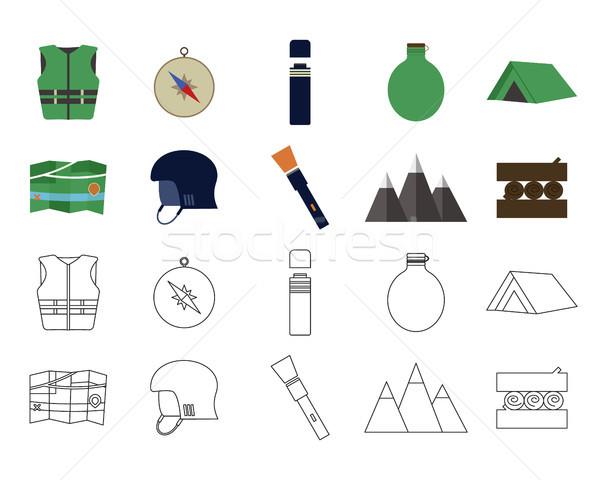 Foto stock: Conjunto · aventura · ícones · camping · elementos