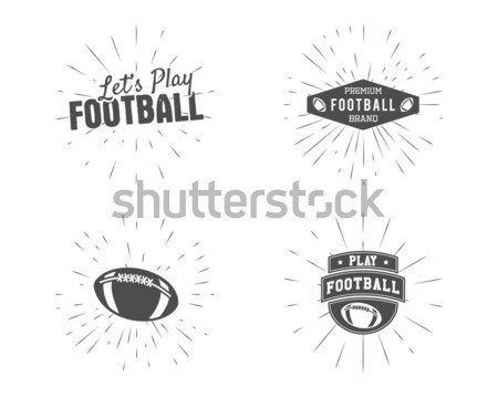 Vintage american football and rugby label, emblem and logo design with sunburst element. Hand drawn  Stock photo © JeksonGraphics