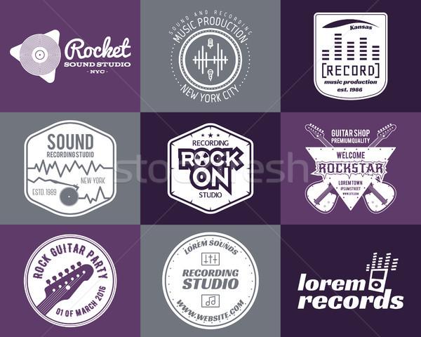 Set of music production logo Musical label icons. Stylish patch and emblem print or logotype Guitars Stock photo © JeksonGraphics