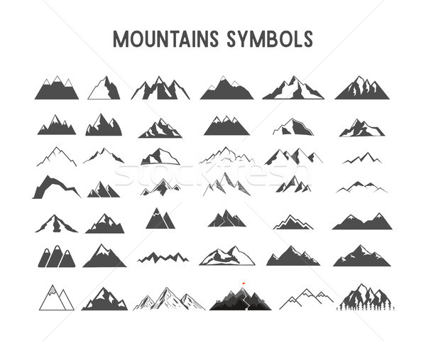 Mountain shapes and elements for creation your own outdoor labels, wilderness retro patches, adventu Stock photo © JeksonGraphics