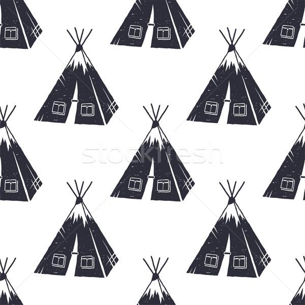 ヴィンテージ 手描き ハイキング 冒険 パターン デザイン ストックフォト © JeksonGraphics