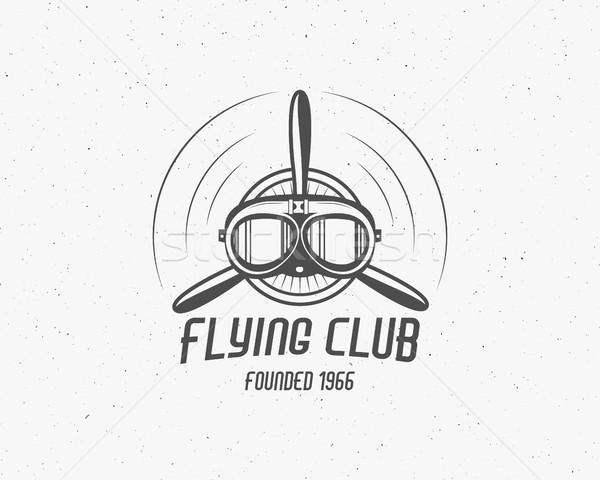 Vintage airplane emblem. Biplane label. Retro Plane badge, design elements. Aviation stamp. Airshow  Stock photo © JeksonGraphics