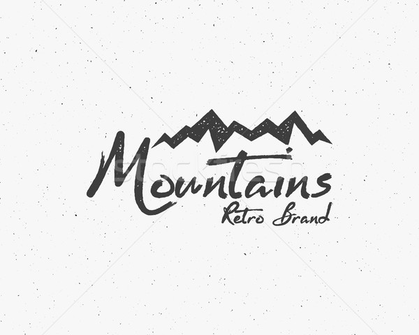 Hand drawn wilderness old style typography poster with retro mountains Letterpress Print Rubber Stam Stock photo © JeksonGraphics
