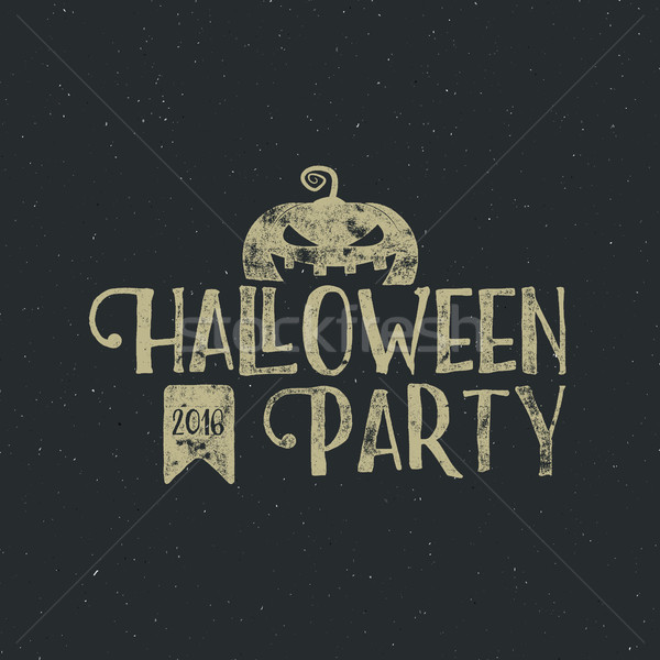 Halloween 2016 party label template with pumpkin and typography elements. text with retro grunge eff Stock photo © JeksonGraphics