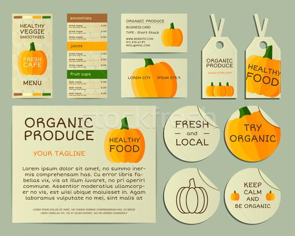 Organic business corporate identity design with pumpkin. Branding your organic company. Menu card. M Stock photo © JeksonGraphics