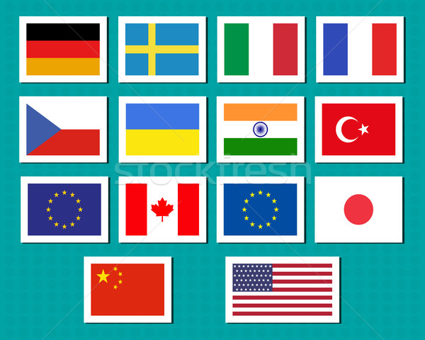 Set of european union, usa, ukraine, china, japan, canadam india flags stickers and labels with shad Stock photo © JeksonGraphics