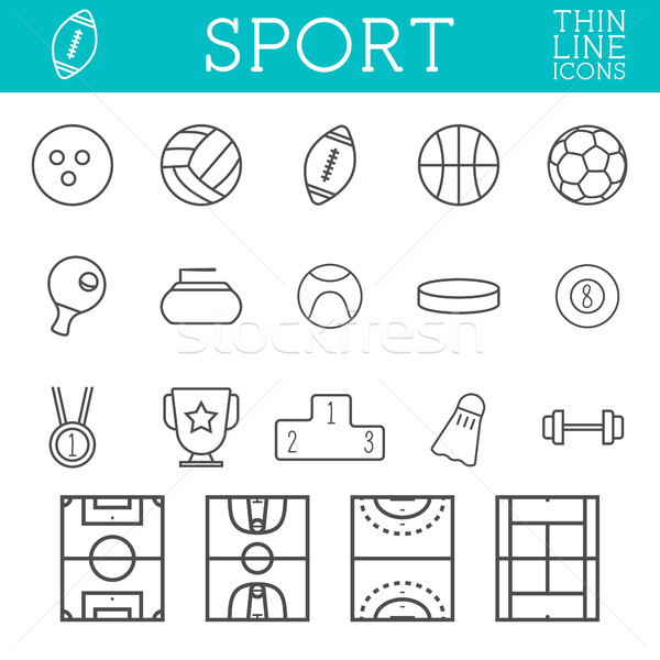 Sport outline icons, trendy thin line design, isolate on white background. Soccer, volley ball, bask Stock photo © JeksonGraphics