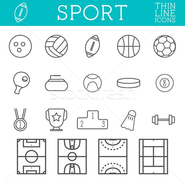 Sport skicc ikonok trendi vékony vonal Stock fotó © JeksonGraphics