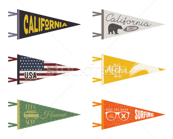 Set of adventure pennants. Pennant travel flags design. Vintage surf, caravan, rv templates. USA, ca Stock photo © JeksonGraphics