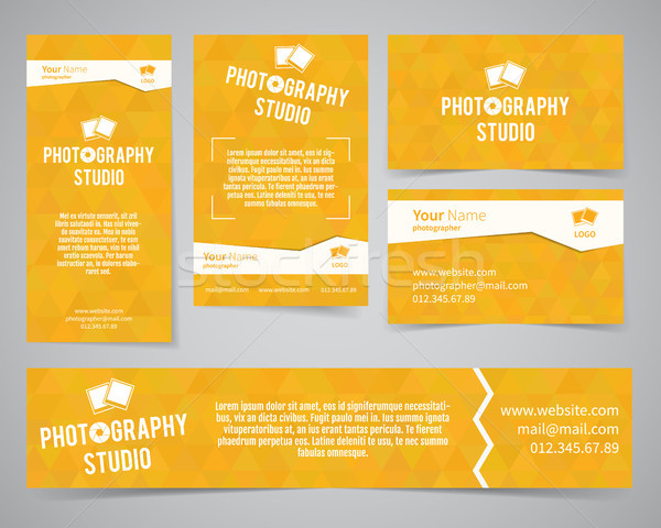 Modern light identity set. Business card, banner, flyer, poster templates photography studio or othe Stock photo © JeksonGraphics