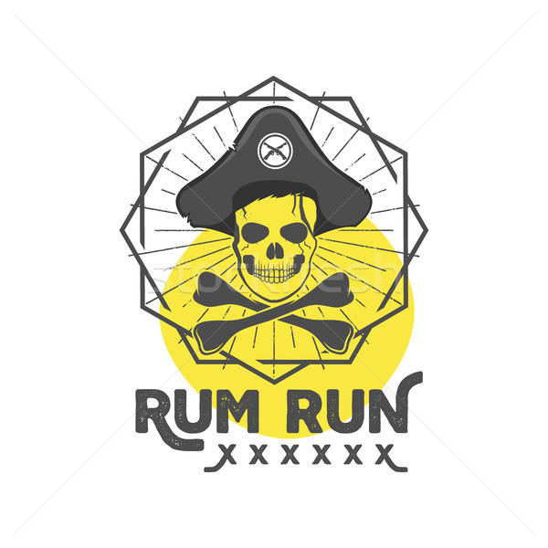 Pirate skull insignia or poster. Retro rum label design with sun bursts, geometric shield and vector Stock photo © JeksonGraphics