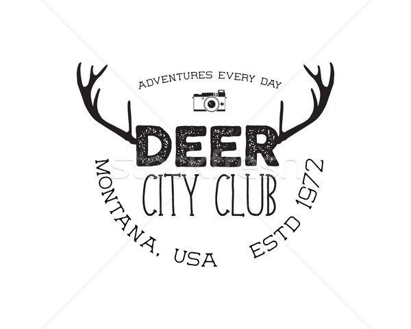 Hand drawn deer vintage badge. Deer city club logo template. Typography insignia with camera. Includ Stock photo © JeksonGraphics