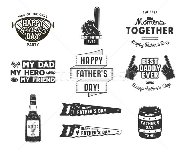 Happy Father s Day Badges and Design Elements Collection Vintage style father day labels. Monochrome Stock photo © JeksonGraphics