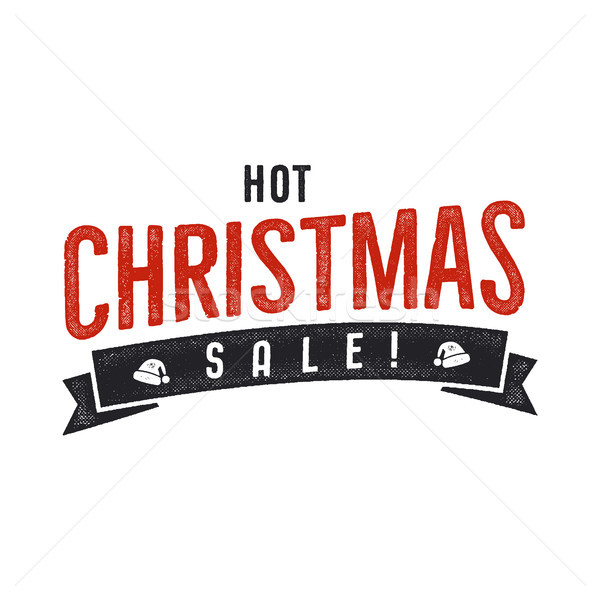 Hot Christmas sale lettering and typography elements. Holiday Online shopping type quote. Stock vect Stock photo © JeksonGraphics