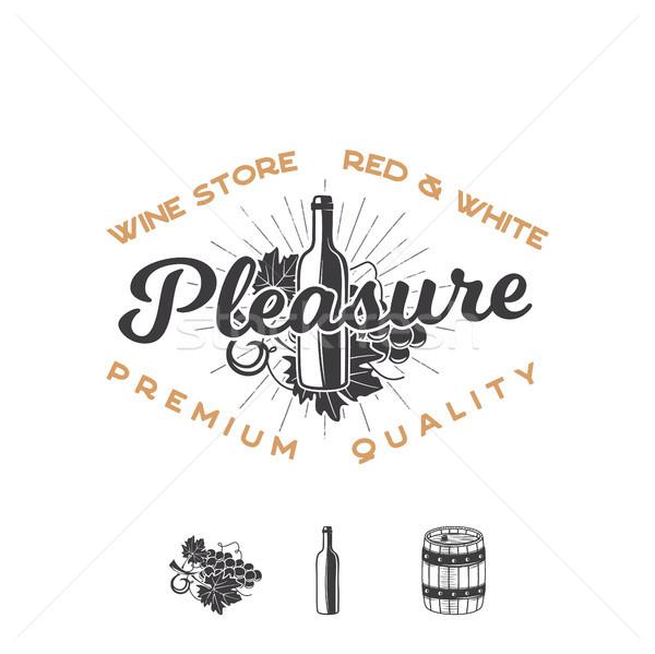 Wine shop logo template concept. Wine bottle, vine, barrel, sunbursts and typography design - Pleasu Stock photo © JeksonGraphics