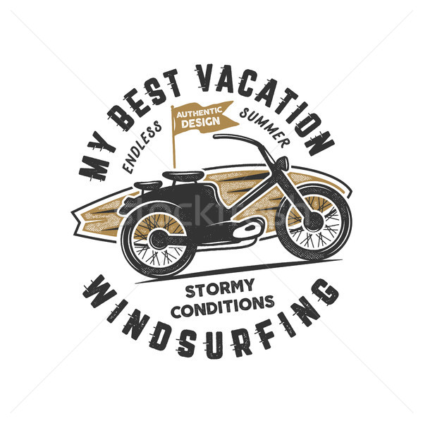 Vintage hand drawn windsurfing, surfing tee graphic design. Summer travel t shirt, poster concept wi Stock photo © JeksonGraphics