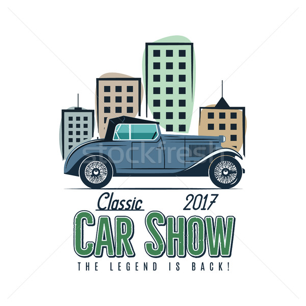 Vintage car show label design. Classic auto badge, insignia. Retro colors patch. Use as logo for rep Stock photo © JeksonGraphics